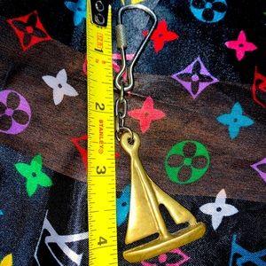 vintage brass keychain handmade sail boat chain